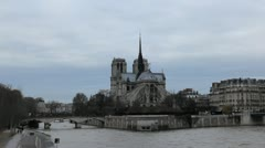 Notre Dame Cathedral in Paris, France, Seine River, French Boat Tour, Promenade Stock Footage