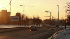 Cars driving in winter sunset ProRes Stock Footage