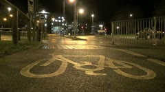 City Cycle Path at Night Stock Footage