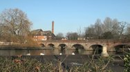 Stock Video Footage of River Avon Bridge and Cox's Yard, Stratford Upon Avon, UK