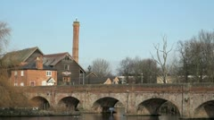 River Avon Bridge and Cox's Yard, Stratford Upon Avon, UK Stock Footage