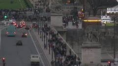 "Traffic on ""Pont d'Iéna "", ""Jena Bridge"", Paris traffic street jam crowded busy - stock footage"