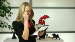 pacing businesswoman with tablet - stock footage