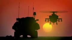 Armored Personnel Carrier (APC) with Apache AH-64 rising in the sunset. - stock footage