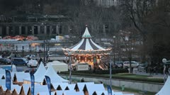 Carousel (merry go round) in Paris, France, French Architecture Stock Footage