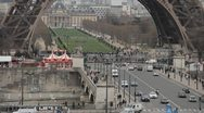 Stock Video Footage of Aerial View of Eiffel Tower in Paris, Montparnasse Tower, Champ de Mars