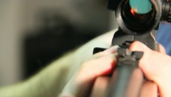 Guns Aiming Shooting Loading a Rifle with Scope (10) - stock footage