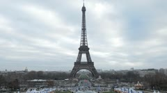 Time Lapse Aerial View of Eiffel Tower in Paris, Champ de Mars Stock Footage