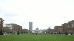 Ecole Militaire, Military School, Champ de Mars, Tour Montparnasse in Paris - stock footage