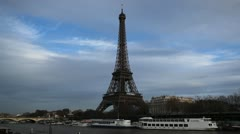 Eiffel Tower in Paris, France, Seine River, Boats Tour, French Architecture - stock footage