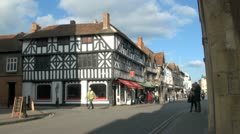 Ancient Building, Ely and High Street, Stratford Upon Avon, UK Stock Footage