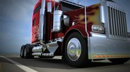 Red american truck driving on the freeway, blurred motion Stock Footage
