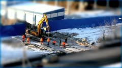 Yellow excavator Stock Footage