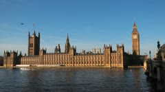 Westminster Bridge Big Ben London, England Thames River Parliament Building Stock Footage
