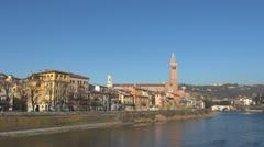 Timelapse Sant'Anastasia church, Ponte Pietra, Verona, Italy Stock Footage