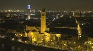 Stock Video Footage of Aerial view of Verona by night, Italy