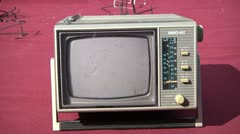 Old Analog TV. Pushing bottons. Stock Footage