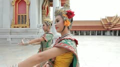 Thai Dancers performing at The Marble Temple. Bangkok. - stock footage