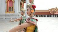 Stock Video Footage of Thai Dancers performing at The Marble Temple. Bangkok.