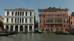 Grand Canal in Venice, Italy, people,  boats, ships and gondolas trip, tour Stock Footage