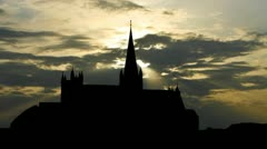 Norway Nidaros cathedral sunset Stock Footage