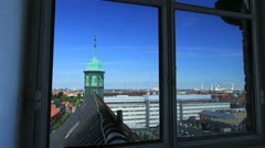 View over Copenhagen from Round Tower Window, Denmark GFHD Stock Footage