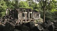 Stock Video Footage of Beng Mealea, temple in the jungle of Angkor area, Cambodia, Asia
