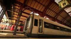 Train Departing Copenhagen Central Station, Denmark GFHD Stock Footage