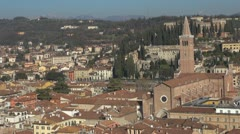 Aerial view of Sant'Anastasia church, Verona, Italy Stock Footage