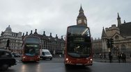 Parliament Square and Big Ben Clock Tower in London, England, Car traffic Stock Footage