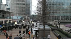 Canary Wharf Offices, Docklands, Business People, Financial Center London, UK Stock Footage