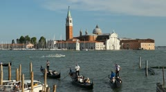 Beautiful Gondolas facing Church of San Giorgio Maggiore, in Venice, Italy Stock Footage