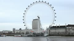 London Eye in London, England, Thames River, Boat Tour, United Kingdom Stock Footage