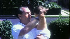 Happy BABY GRANDFATHER Grandchild Play Dance 1950s Vintage Film Home Movie 1701 Stock Footage