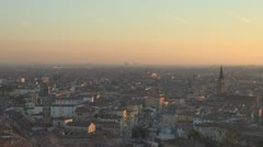 Aerial view of Verona in twilight, Italy Stock Footage