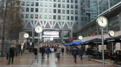 Time Lapse of Canary Wharf Offices, Docklands, Business People, Financial Center - stock footage