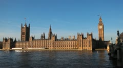 Parliament Building and Big Ben Clock Tower in London, England, Thames River Stock Footage