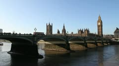 House of Parliament and Westminster bridge, London - stock footage