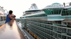Interesting perspective of two cruise ships side by side in port. Stock Footage