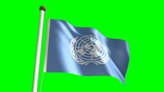 United Nations flag (Loop & green screen) Stock Footage