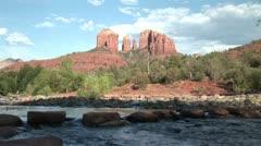 Cathedral Rock & Stream- Sedona, AZ Stock Footage