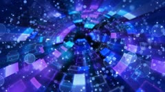 Blue circular segments and particles loop Stock Footage