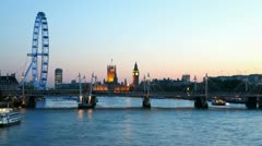 Houses of Parliament and London Eye Stock Footage