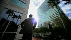 Satisfied Business Leader Outside Downtown Skyscrapers Stock Footage