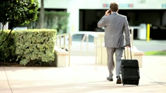 City Businessman Leaving for Airport Stock Footage