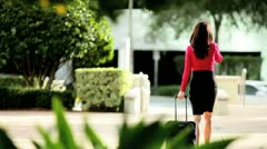 Businesswoman Returning from Travel Stock Footage