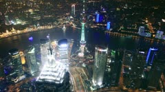 Bird's eye view of Shanghai Pudong at night. time lapse Stock Footage