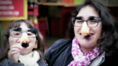 Mother and daughter funny - stock footage