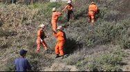 Prisoners at work in Malibu, California Stock Footage