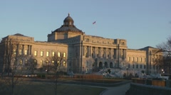 Jefferson Building, Library of Congress, sunset, Washington, DC Stock Footage